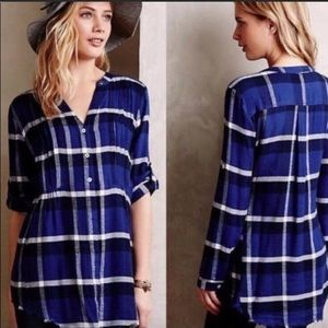 Anthropologie Holding Horses Blue Plaid Flannel